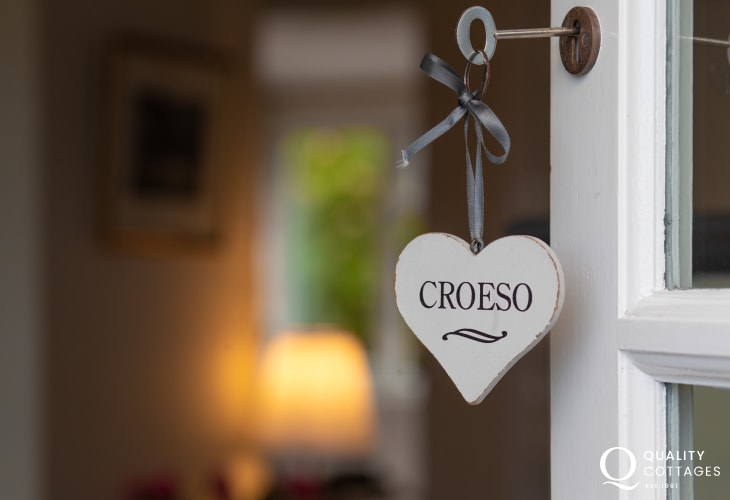 Front door with Croeso sign