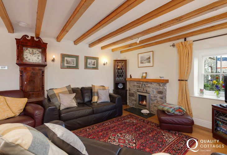 Living room with grandfather clock of cottage in the heart of St David's