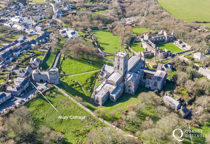 Birds eye view of St David's Cathedral