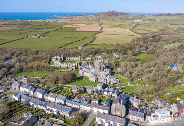 Arial shot of St Davids, UK's smallest city