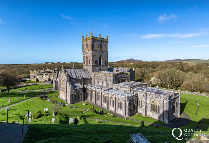 St David's Cathedral in Pembrokeshire on a sunny day