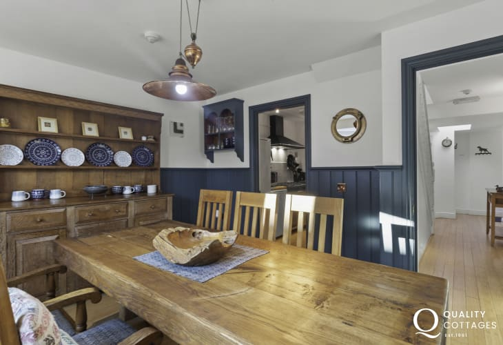 Holiday cottage dining room with Welsh Dresser and solid wood table in Newport Pembrokeshire