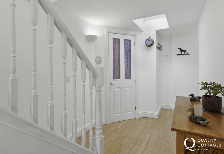 Front door and hallway in holiday cottage Pembrokeshire
