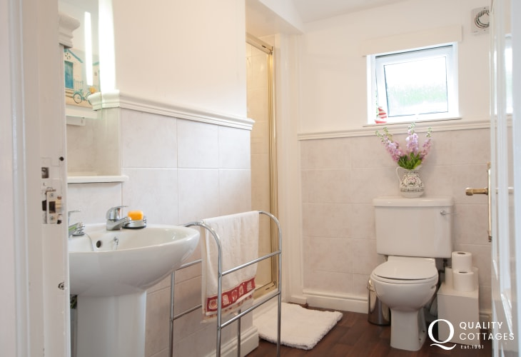 Bathroom of holiday cottage with views