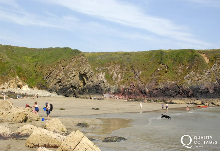 Caerfai Bay - a beautiful sandy cove popular for swimming, snorkelling and rock pooling