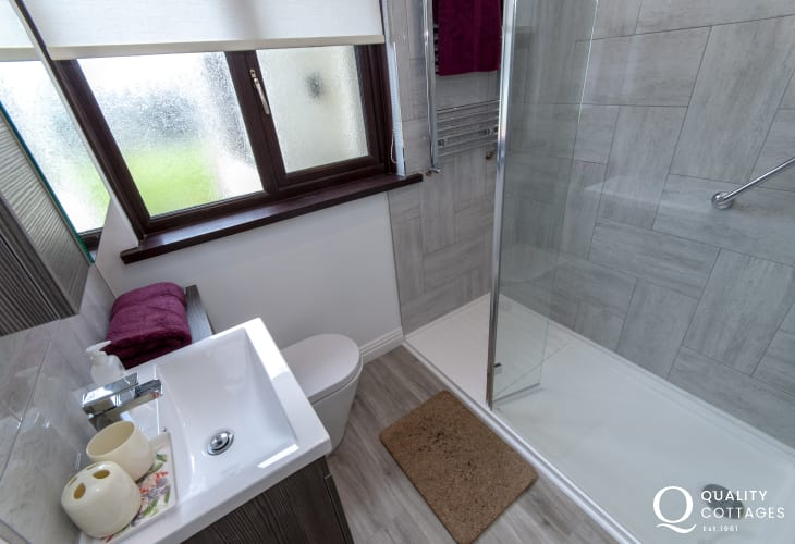 St Davids holiday bungalow - family bathroom with double walk in shower