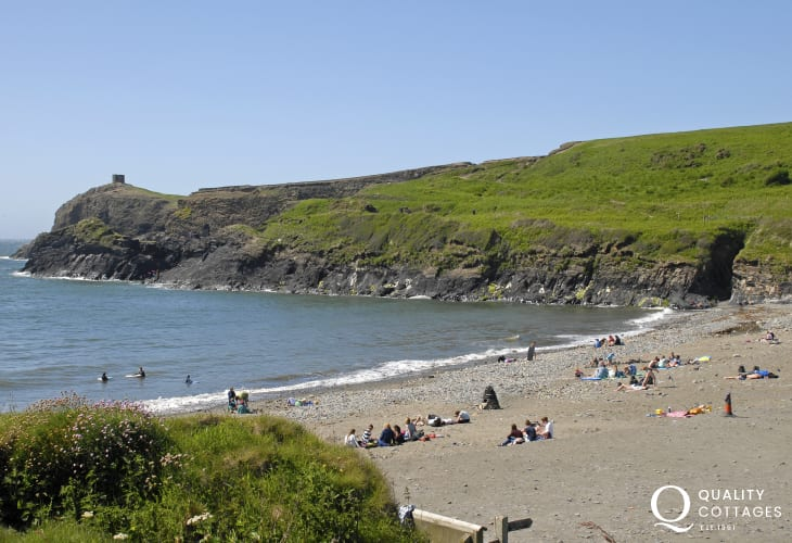 Abereiddy - a popular beach for rock pooling, fossil hunting and famous for coasteering in the Blue Lagoon