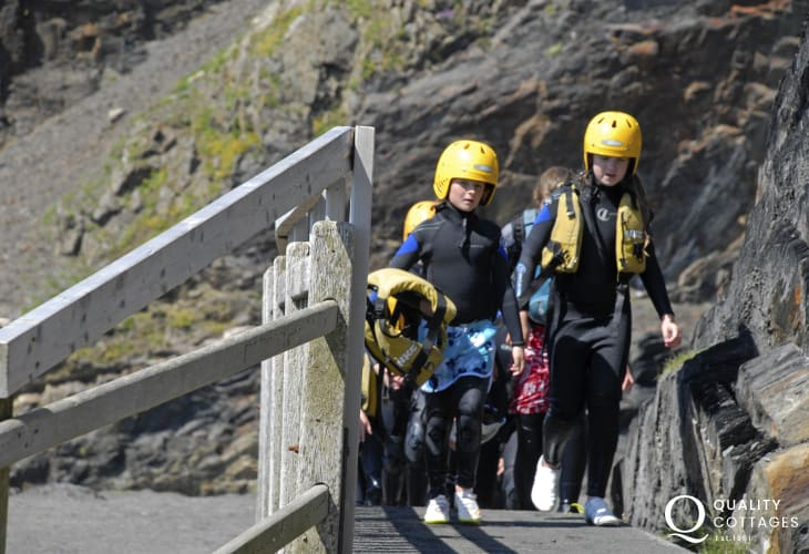 All kitted up for some coasteering of the rocks at Abereiddy