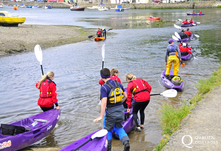 'Kayak King' offer trips fom Fishguard Lower Town out to explore the hidden caves, secluded beaches and playful marine life