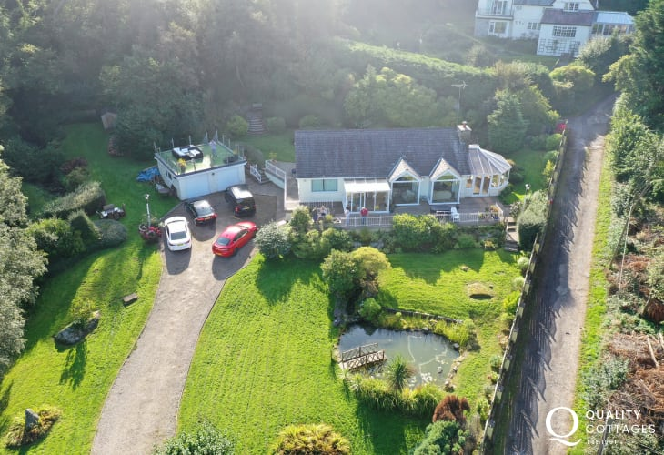 Aerial view holiday cottage near Red Wharf Bay