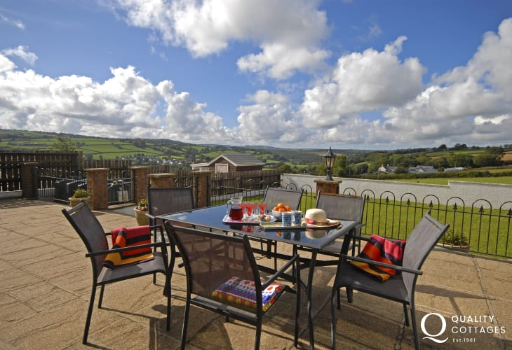 Enjoy panoramic views over the Teifi Valley from the patio
