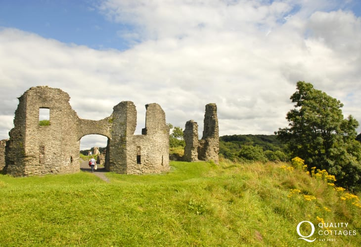 Newcastle Emlyn castle sits on a grassy hill overlooking the River Teifi