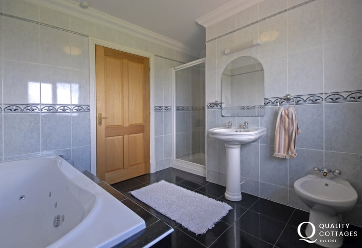 Family bathroom with separate shower