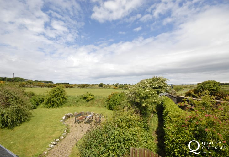 Views over the garden and surrounding countryside from the crog loft double bedroom