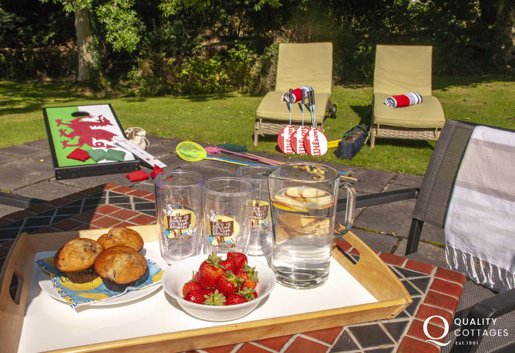 Refreshments on the patio table at Lower Lochturffin