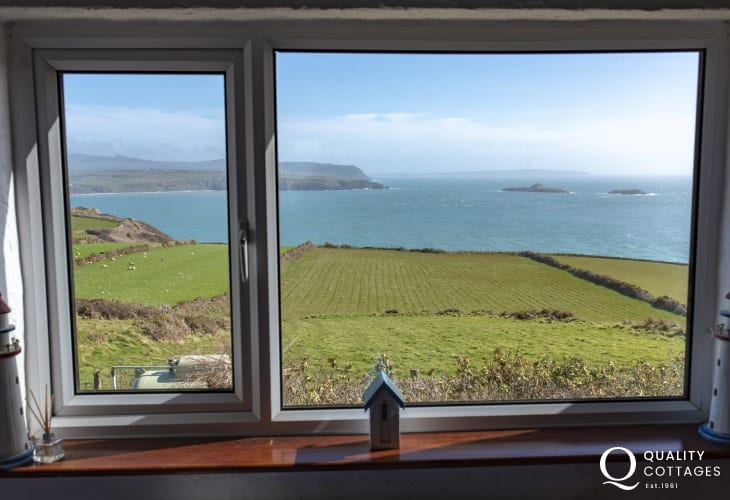 Aberdaron luxury cottage - view from twin bedroom