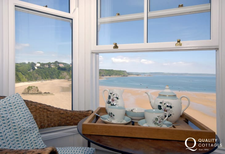 Afternoon tea in the sitting room overlooking the North Beach
