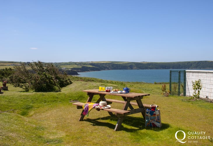 Enjoy coastal views over St Brides Bay from the garden