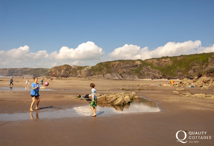 At Low tide you can walk to little Haven along the beach