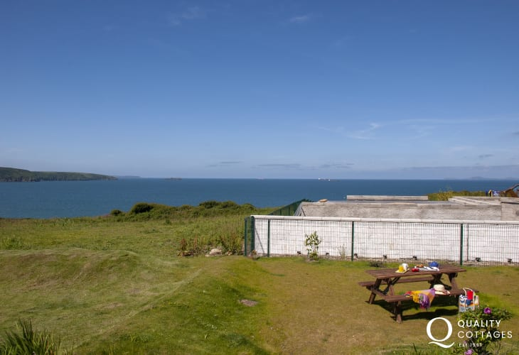Coastal views over the gardens to St Brides Bay