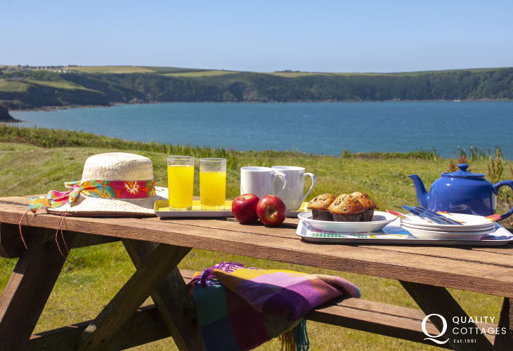 Enjoy coastal views towards Broad Haven beach from the garden