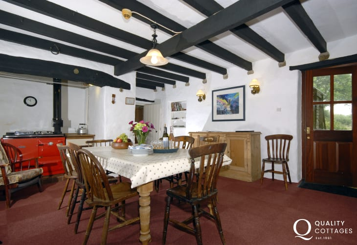 Pembrokeshire farmhouse near Newgale - dining room with Rayburn