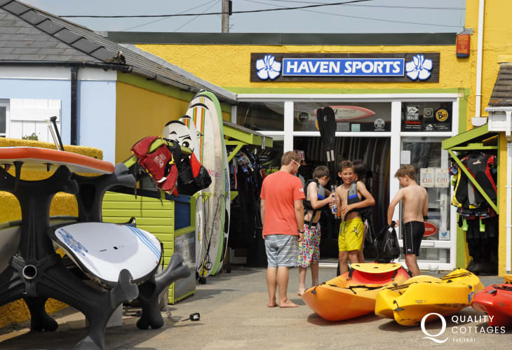 Haven Water sports, Broad Haven, offer a full hire service from kayaks to surf boards plus wet suits
