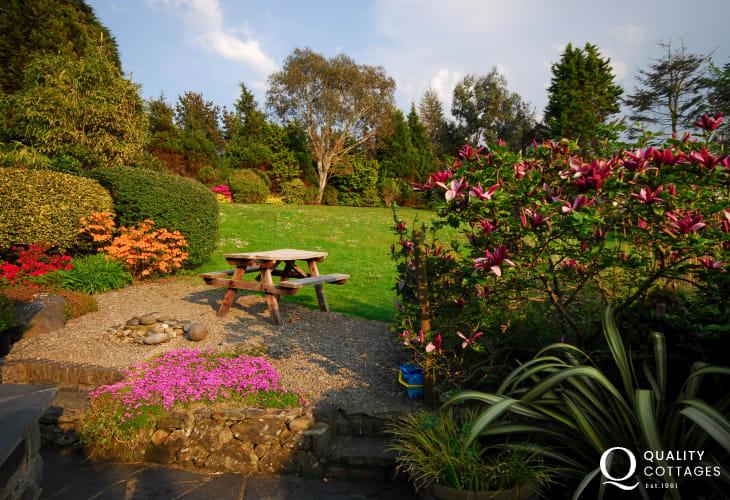 Beautiful gardens of cottage near Llandanwg
