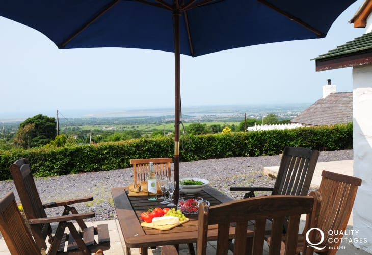 Views from patio seating area of Beech Tree holiday cottage, Snowdonia National Park