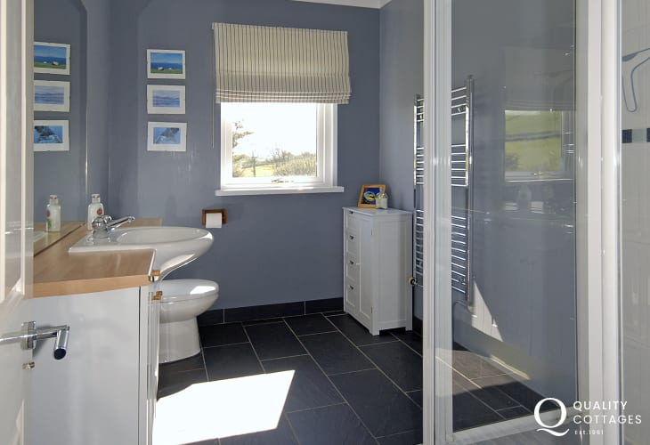 Cardigan Bay holiday home - master en-suite double walk-in shower