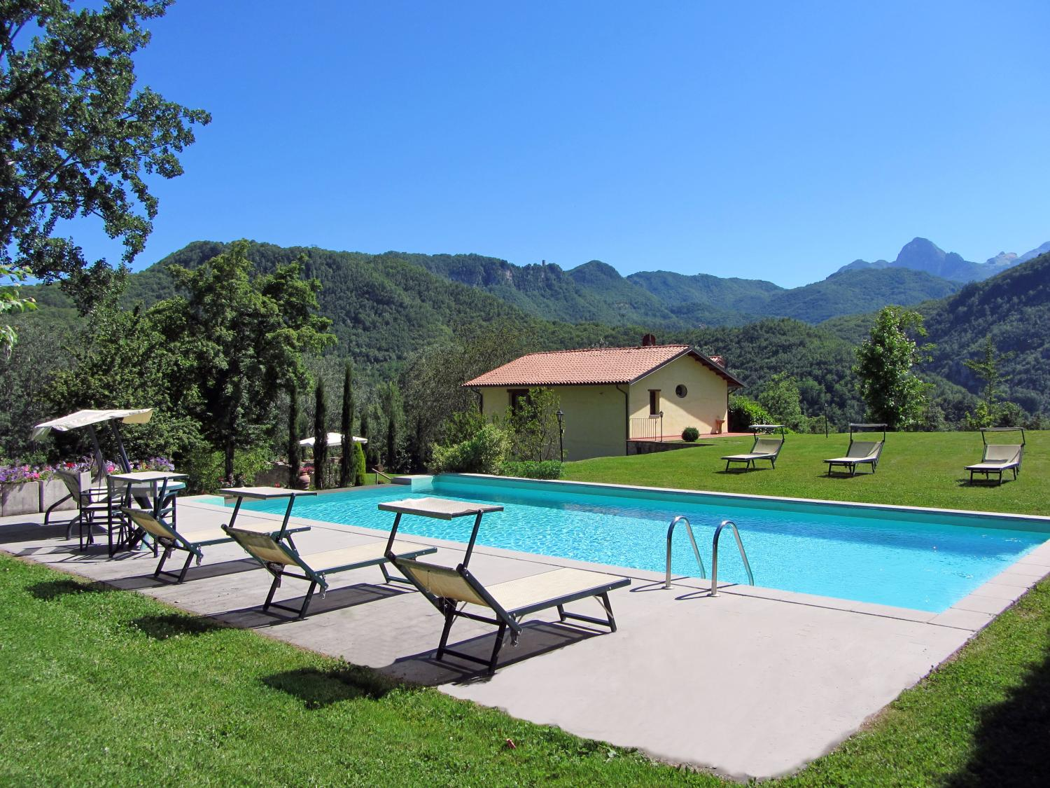 Outdoor pool, Castagnaccio, Tuscany, Barga.