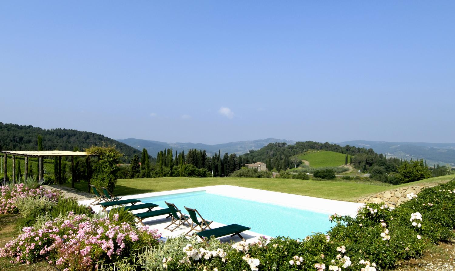 Pool and View , La Riserva, Greve in Chianti, Tuscany.