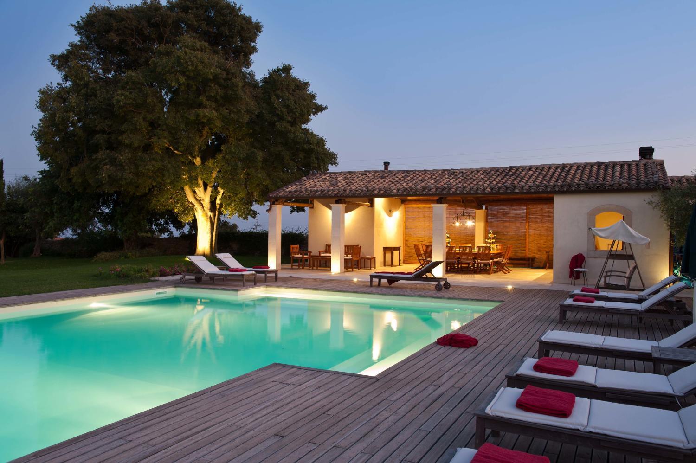 Outdoor pool evening, Casa Modica, Sicily, Modica.