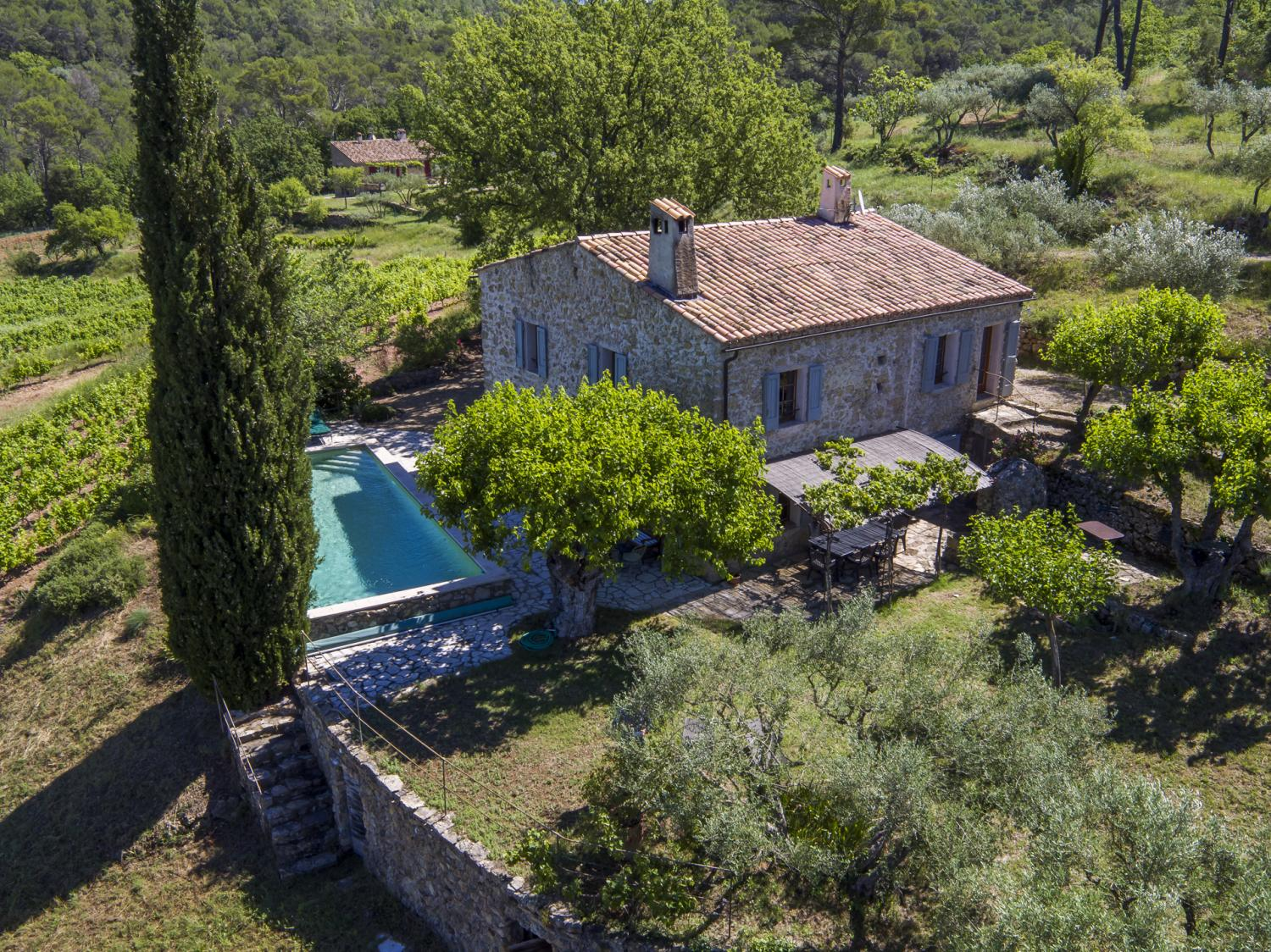 Whole villa from above, Bastide Du Charme, Provence, Lorgues.
