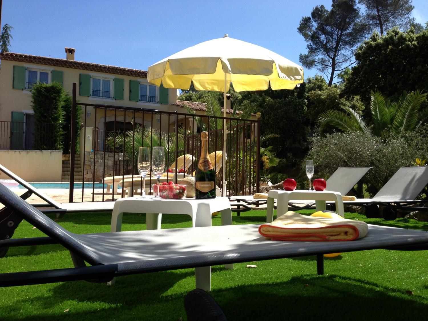 sun loungers and parasols