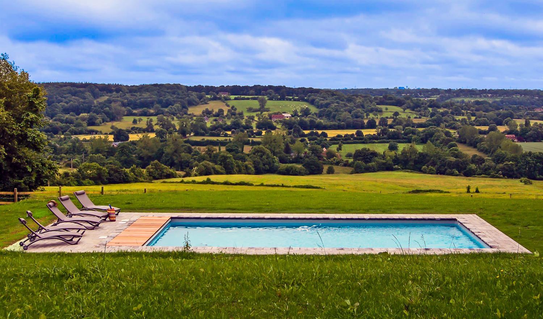 Pool and View, Le Clos en Auge, nr. Pont L'Eveque, Normandy.