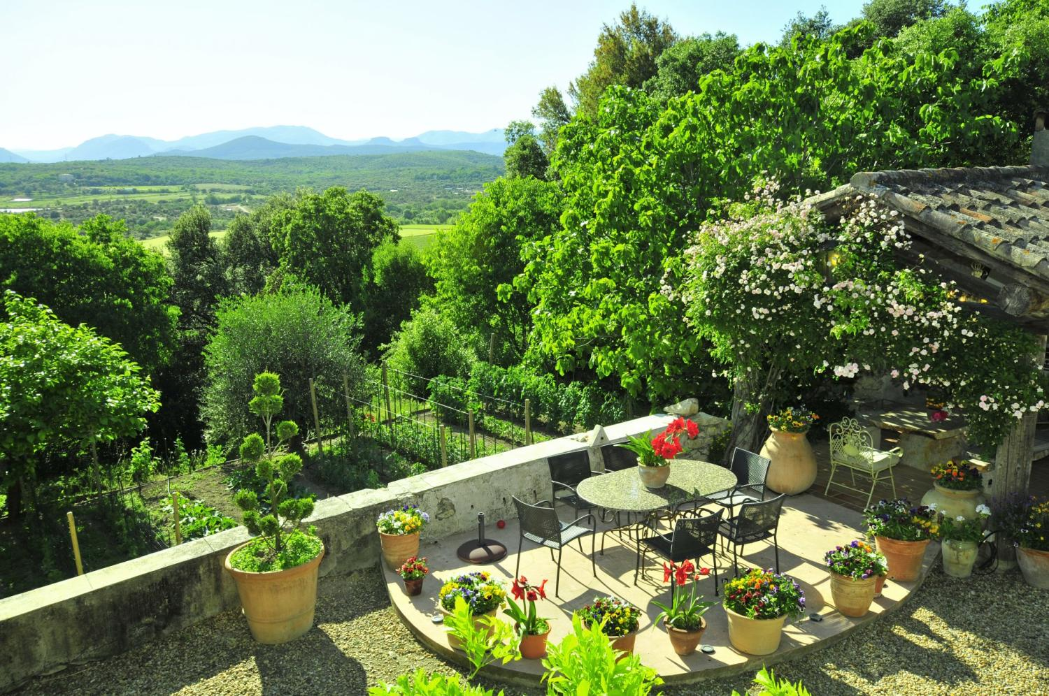 Outdoor Seating and View, Le Domaine Joli, Sauve, Languedoc.