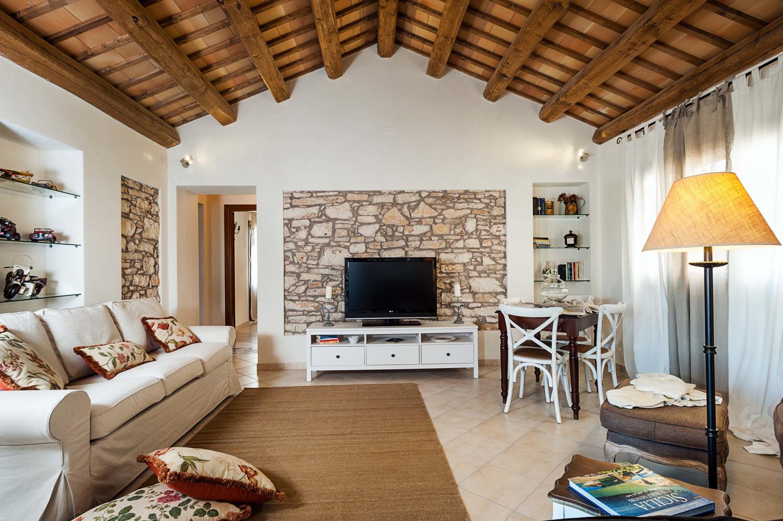Family lounge with TV, Amaryllis, Sicily, Trapani.