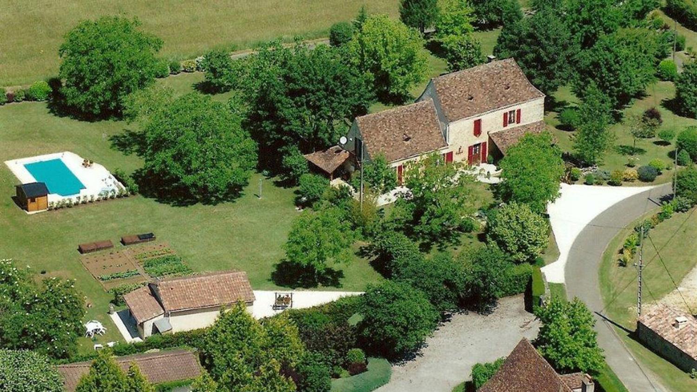 Villa grounds from above, Belle du Perigold, Dordogne, Nadaillac  De Rouge.