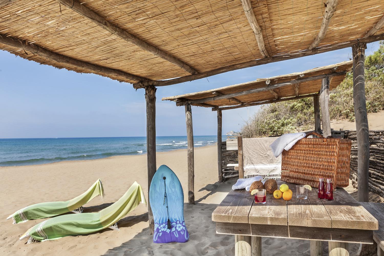 private beach hut on the local beach at Maremma