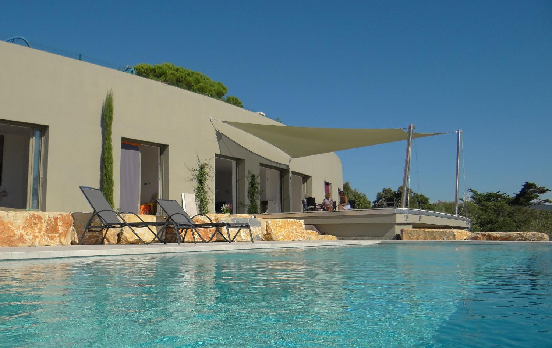 Villa exterior from pool, Bale d'Argent, St Tropez Var, Ste Maxime.