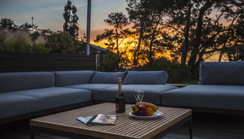 Biarritz, L'Oceanique villa, sunset on the deck