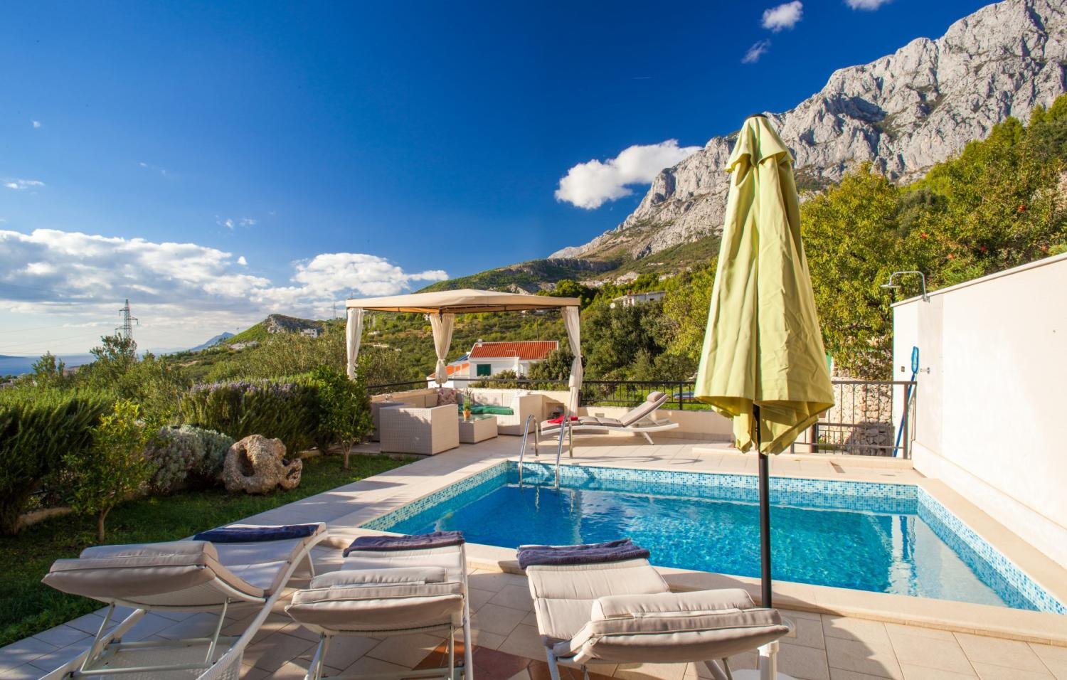 croatia, dalmatian coast, split riviera, makarska, villa mir, pool with mountain view