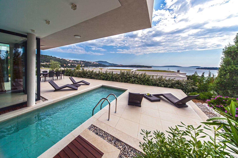 Dalmatian coast, Primosten, Sea view VII, pool area