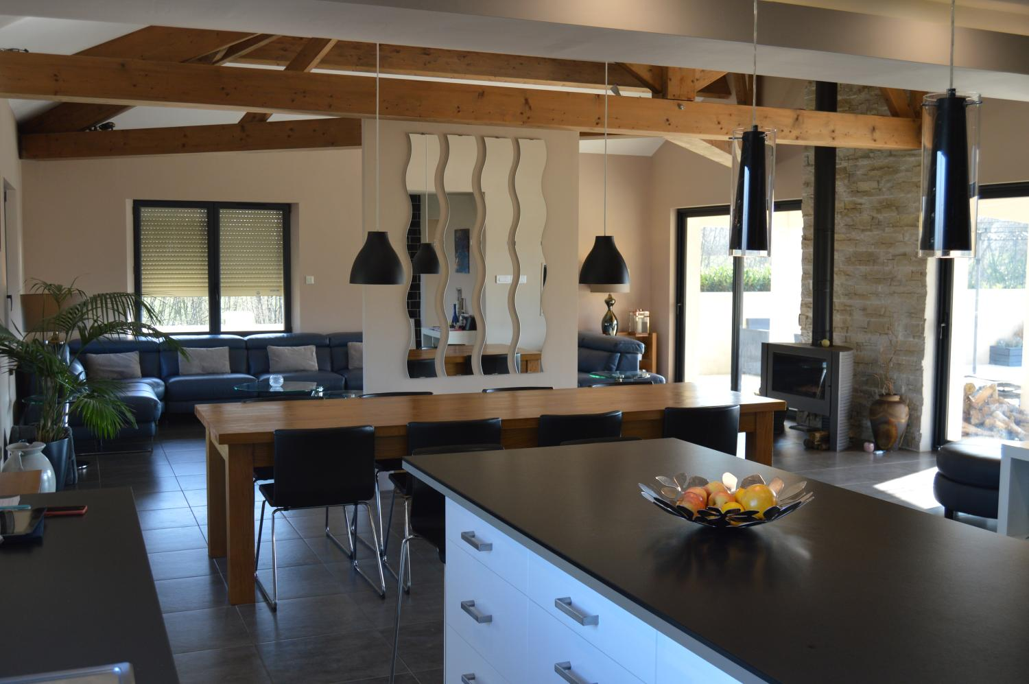 kitchen dining living, Villa Chevalet, Fontenay-le-Comte, Vendee Charente