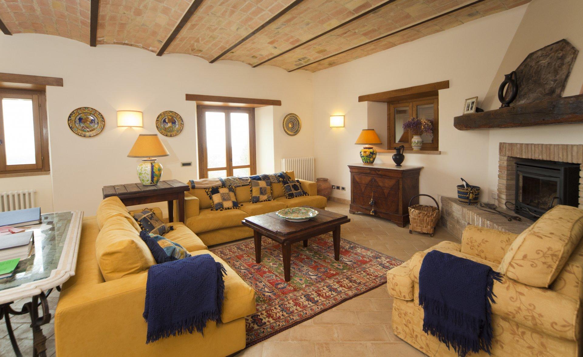 Living room with Fireplace, Domus Romana, Todi, Umbria.