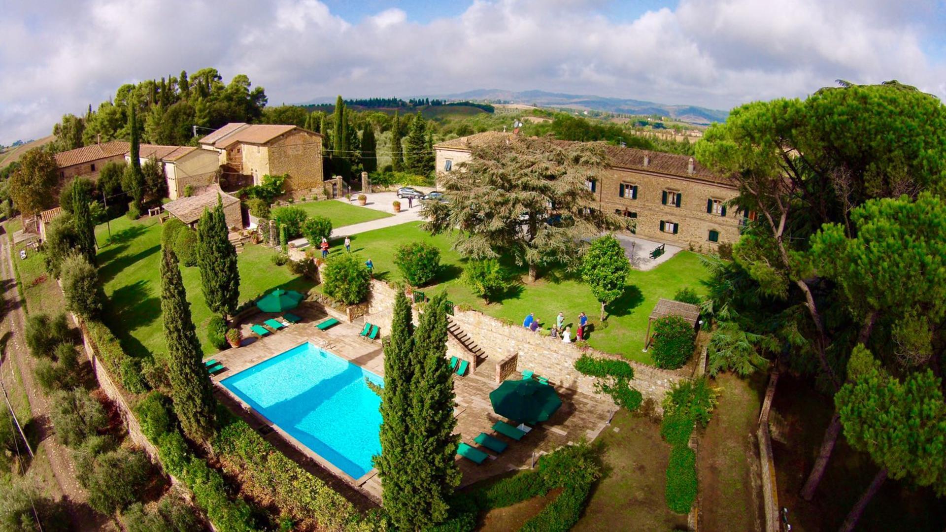Aerial view,Casa Francigena, Tuscany, Montaione.