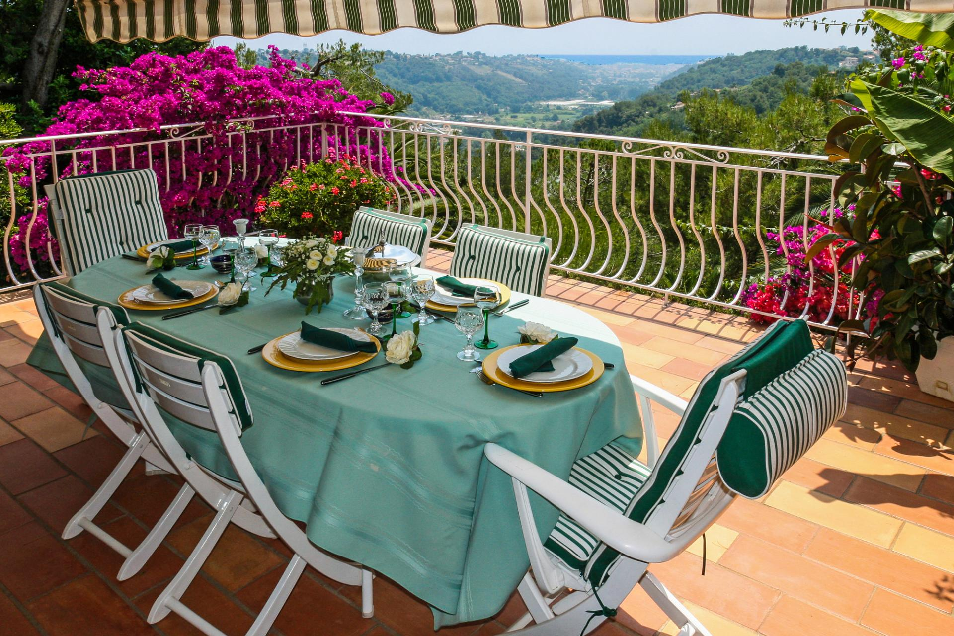 Outdoor Dining Table, La Bergerie, Vence, Cote d'Azur.