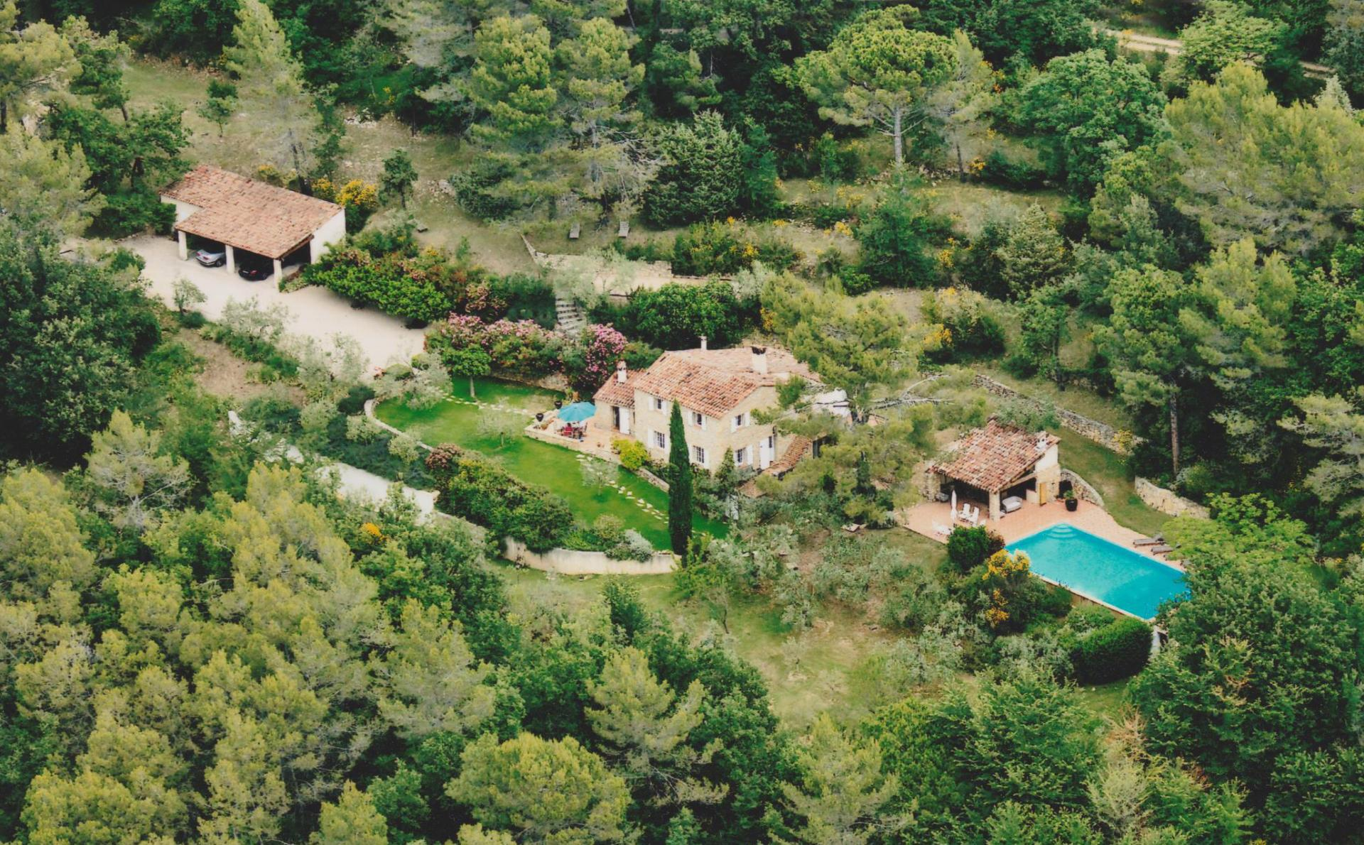 Villa Grounds from Above, La Bastide du Bois, Tourrettes, Cote d'Azur.