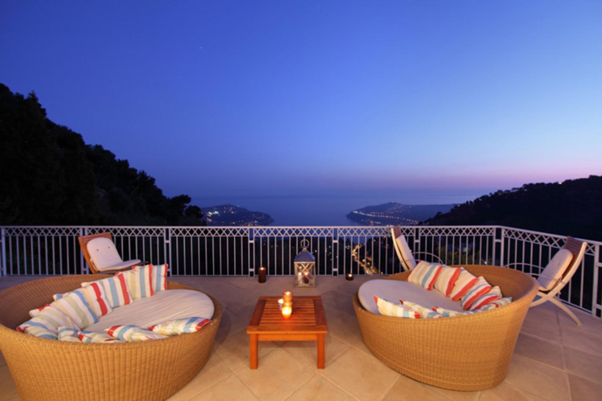 Evening Sea View, Chanson De La Mer, Cote d'Azur, Villefranche-sur-Mer.
